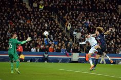 Paris Saint-Germain's Brazilian defender David Luiz vies for the ball with Chelsea's Spanish forward Diego Costa during the Champions League round of 16 first leg football match between Paris Saint-Germain and Chelsea FC on February 16, 2016, at the Parc des Princes stadium in Paris.