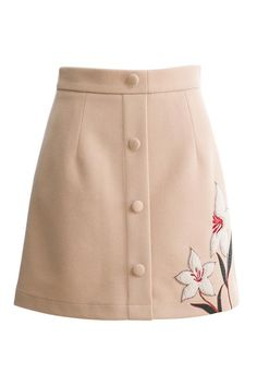 Floral Embroidery Button Front Skirt