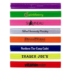Slap bracelet with reflective coating. It reflects against light in the dark. Single colors or assorted colors availalbe pcs min per color if ordering asst). Great for nighttime awareness walks, Halloween or child nighttime safety. A fun way to promote! Trader Joe's, Breast Cancer Support, Breast Cancer Awareness, Dreamworks Home, Yogurt Shop, Slap Bracelets, School Fundraisers, Company Picnic, Kid Party Favors