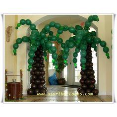 Balloon Palm tree! Balloon Palm Tree, Balloon Flowers, Safari Birthday Party, Luau Party, Balloon Centerpieces, Balloon Decorations, Jungle Balloons, Balloon Pillars, Tropical Party Decorations