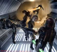 Jaina Solo and Tyria Sarkin-Tainer fighting the Mandalorian invasion of the Jedi Temple, as seen in Fate of the Jedi: Backlash by Aaron Allston
