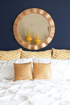 Navy and gold master bedroom update.