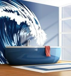 Nautical design bathroom - catch that wave...:) Oh cool I like the whole thing mural tub & mat. I wonder if that's painted or a poster print wallpaper job? Really nice ;)
