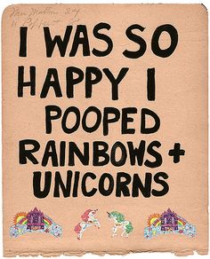 Rainbows + Unicorns, 2009 gouache, stickers on paper
