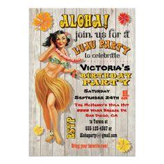 Luau Birthday Party Invitations Hawaiian Luau Birthday Party Invitations