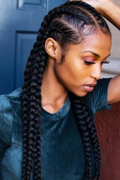 45 Enviable Ways To Rock The Latest Black Braided Hairstyles Black braided hairstyles are pure trends of now! Read this post to get to know their types and see how to rock the protective hairstyles and be on point. Protective Style Braids, Protective Hairstyles For Natural Hair, Natural Hair Braids, Braided Hairstyles For Black Women, Braids For Black Hair, Black Hair Braid Hairstyles, Undercut On Natural Hair, Braided Mohawk Black Hair, Natural Black Hairstyles
