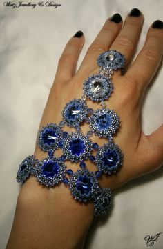 Sapphire Swarovski beaded handjewelry by Watz Jewellery & Design