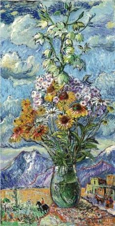 David Burliuk (1882 1967) | Post-Impressionism | Bouquet and mountains, Colorado - 1951
