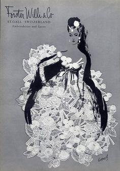 Evening Gown by Forster Willi & Co (Embroideries and Laces), 1958