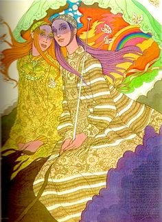 Bill Gibb's striped and floral dresses for Baccarat, 1970 British Vogue, July 1970 / fashion illustration by Antonio Fashion Illustration Sketches, Graphic Illustration, Mod Fashion, Vintage Fashion, Vintage Designs, Vintage Art, Art In The Park, Riders On The Storm, Poster Prints