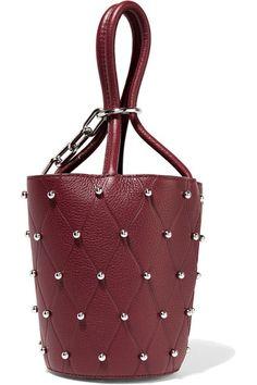 Alexander Wang - Roxy Mini Studded Textured-leather Bucket Bag - Burgundy