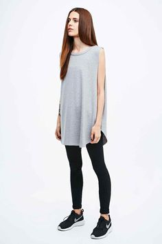 Sparkle & Fade Curved Hem Tank in Grey
