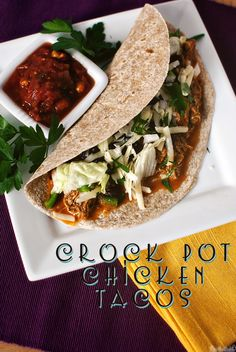 Quick Dinner Fixins: Crock Pot Chicken Tacos... Sounds yummy! Different from recipe I usually use so I'll try it! :)