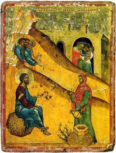 The Samaritan woman- Господь беседует с женою самарянкой, русская икона, взята с сайта