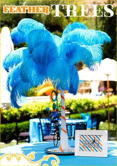 ostrich feather tree centerpiece - DIY Tutorial maybe a dr suess or tropical party, could also be french with different colors Rio Party, Luau Party, Party Time, Feather Centerpieces, Wedding Table Centerpieces, Wedding Decorations, Wedding Ideas, Wedding Reception, Rio Birthday Parties