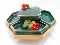 Lazy Susan Emerald Green and Metallic Gold Vintage