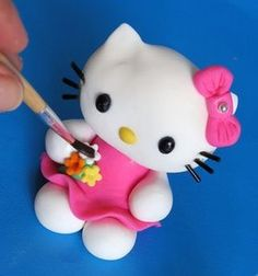 Picture of How to Do Fondant Hello Kitty Topper - Tutorial by Annushka