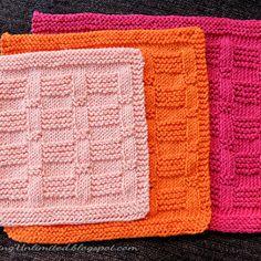 Ravelry: Garter Blocks Dishcloth pattern by nalhcib Knitted Dishcloth Patterns Free, Knitted Washcloths, Knit Dishcloth, Knitting Patterns Free, Knit Patterns, Knitting Tutorials, Knit Cowl, Easy Knitting, Loom Knitting