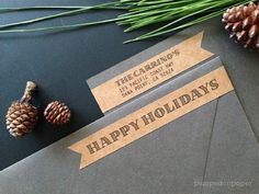 ♡ happy holidays - personalized skinny wraparound return address labels - banner shape ♡ overall size: 7.25 inches wide by .625 inches tall ♡ available colors: brown kraft, natural cream, pastel pink, pastel blue, white ♡ quantity: 28 ♡ material: self-adhesive label paper ♡ printed with black high quality inks