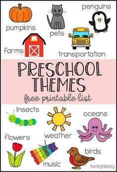 Preschool Themes Printable