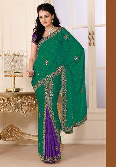 Purple and sea green...combo style  http://www.utsavfashion.com/saree/green-and-purple-faux-satin-chiffon-lehenga-style-saree-with-blouse/sap160-itemcode