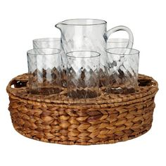 Perfect for Sunday brunch or an alfresco soiree, this lovely beverage set brings a charming touch to your table. Featuring hand-blown glasses and a pitcher n. Homemade Lemonade, Whiskey Decanter, Joss And Main, Coffee Cups, Decorative Bowls, Beverages, Sunday Brunch, Terrace, Garden