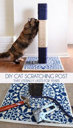 Build a DIY cat scratching post that literally lasts for years! Make it match the decor of any room and save your furniture.