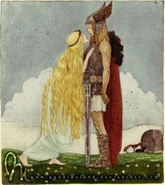 """Freya and Svipdag"" -- Norse mythology illustration by John Bauer https://en.m.wikipedia.org/wiki/Svipdagr Norwegian Design, Gods And Goddesses, Children's Book Illustration, John Bauer, Folklore, Old Norse, Freya Norse Mythology, Fantasy Art, Asatru"