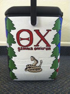 painted cooler greek letters theta chi