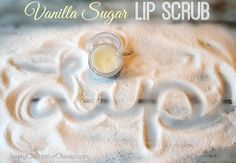 **DIY Vanilla Sugar Lip Scrub** Don't spend $$ on those fancy store bought lip scrubs when you can make your own for pennies. This Scrub uses ONLY 3 Ingredients (which you probably already have on hand) and it is SO EASY to make #DIYbeauty #beauty