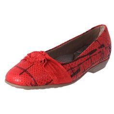 Piccadilly Womens Comfortable Ballet Flat Shoes Red | The Shoe Link