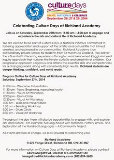 Celebrating Culture Days at Richland Academy. Join us on Saturday, September from – Culture Day, Inquiry Based Learning, School Life, September, Join, Celebrities, High School Life, Celebs, Foreign Celebrities