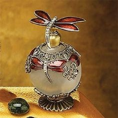 Dragonfly Collectible Perfume Bottle--Elegant Pewter Dragonfly Design w/Frosted Glass