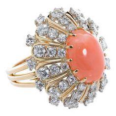 Oscar Heyman Coral Diamond Cocktail Ring
