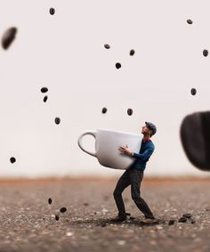 ♂ Dream Imagination Surrealism Surreal Photography By Joel Robison man with huge cup waiting for the coffee beads