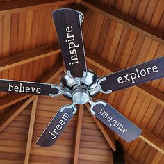 Inspiring Fan Blade Words Vinyl Wall Decal