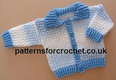 0-3 Month Baby ribbed cardigan Crochet Pattern.