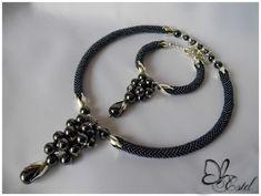 hematite set by Estel Seed Bead Jewelry, Jewelry Art, Beaded Jewelry, Handmade Jewelry, Bead Crochet Patterns, Bead Crochet Rope, Fashion Necklace, Fashion Jewelry, Beaded Earrings
