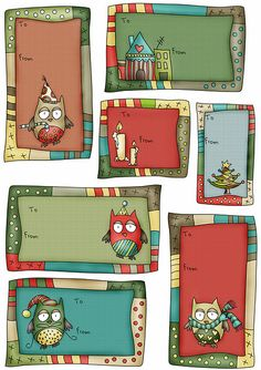 owl xmas labels - free printable on A4 cardstock
