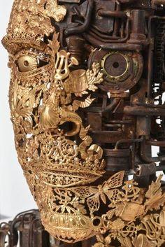 """Bronze""""Numero Sculpture by Alain Bellino Steampunk, Mannequin Art, Cyberpunk, Human Art, Installation Art, Mixed Media Art, Metal Art, Sculpture Art, Fantasy Art"""