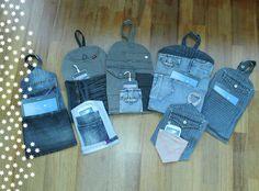 Oplaadzakken voor tablet en/of mobiel van upcycled denim spijkerbroeken. 4 Euro per stuk Walkie Talkie, Euro, Repurpose