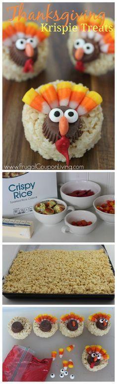Thanksgiving Turkey Rice Krispie Treats via frugalcouponliving.com
