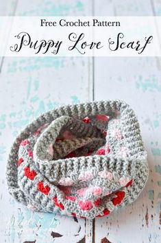 Free Crochet Pattern: Crochet Puppy Love Infinity Scarf | Don't let those adorable little hearts fool you, this scarf is easy to make and fun and cozy to wear.