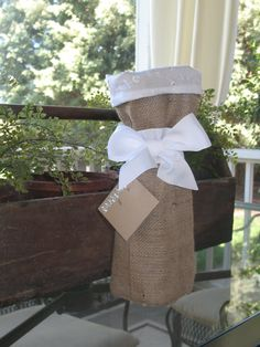 Burlap Wine Bag with White Eyelet Fabric and by BouteilleChic, $12.00