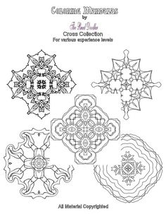 Coloring Mandala Cross Collection contains a bakers dozen of coloring pages (13) instead of my usual 10 mandalas for the same price of $5. There