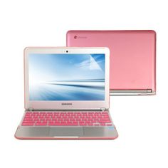 GMYLE(R) Hard Case Frosted for Samsung Series 3 Chromebook 11.6 inch - Pink 3 in 1 Rubberized (Rubber Coated) Hard Case Cover - Silicon Keyboard Protector (US Layout) and Clear LCD Screen Protector (Not Fit for Samsung Chromebook 2)