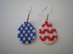 Patriotic Easter Egg Dangle Earrings in the Peyote Stitch One is Red and White Stripes and the Other is White Stars on Blue by JazminsJewels on Etsy