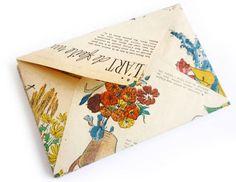 Vintage magazine turned handmade-envelopes