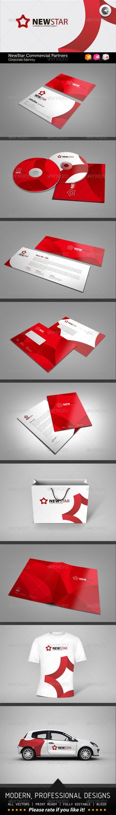 New Star Commercial Partners Corporate Identity  #GraphicRiver         File Information: —-—-—-—-—- 1 Business Card(inch): 3.5×2 2 Compact Disc: 120×120mm 1 CD Packag:125×125mm 1 Compliment Card: Half A5 2 Envelope: C5 1 Letter: A4 1 Corporate Folder: A3 1 Shopping Bag:320×260×90mm Colors: CMYK  bleed lines included Vectors shape AI(CS5), EPS and PDF  Font used: —-—-—-—-——- Myriad Pro-> .myfonts /fonts/adobe/myriad/     Created: 15August12 GraphicsFilesIncluded: VectorEPS #AIIllustrator…
