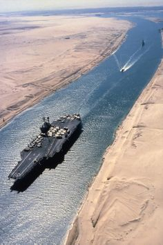 Suez Canal is an artificial sea-level waterway in Egypt, connecting the Mediterranean Sea and the Red Sea. Opened in November 1869, it allows water transportation between Europe and Asia without navigating around Africa